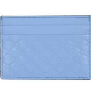 NWT Gucci Mineral Blue Guccissima Card Case 476010